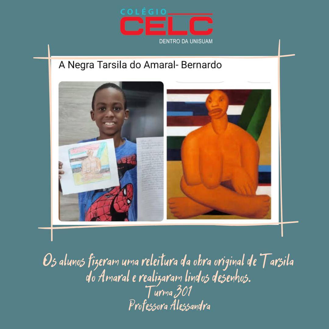 Atividade do livro de  Produção de Texto. Os alunos fizeram uma releitura da obra original de Tarsila do Amaral!